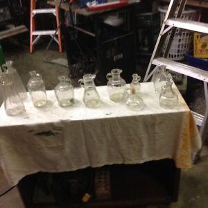 10 vintage glass jugs