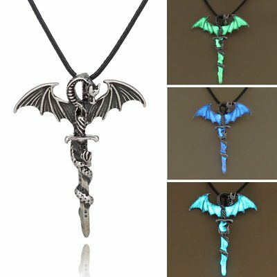 Vintage Silver Glow In The Dark Cross Dragon Pendant Necklace Luminous Jewelry - Glow In The Dark Jewelry