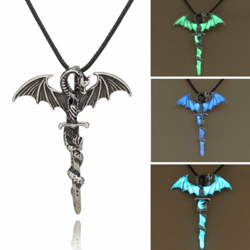 Jewellery - Vintage Silver Glow In The Dark Cross Dragon Pendant Necklace Luminous Jewelry