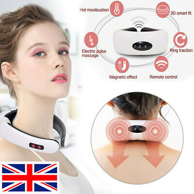 UK Heating Electric Pulse Back And Neck Relaxation Massager 6 modes Pain Relief