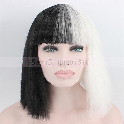 Black And White Wig Halloween Costume (2-6 Days Ship Halloween Wig Costume Party Straight Bob Half Black and Half)
