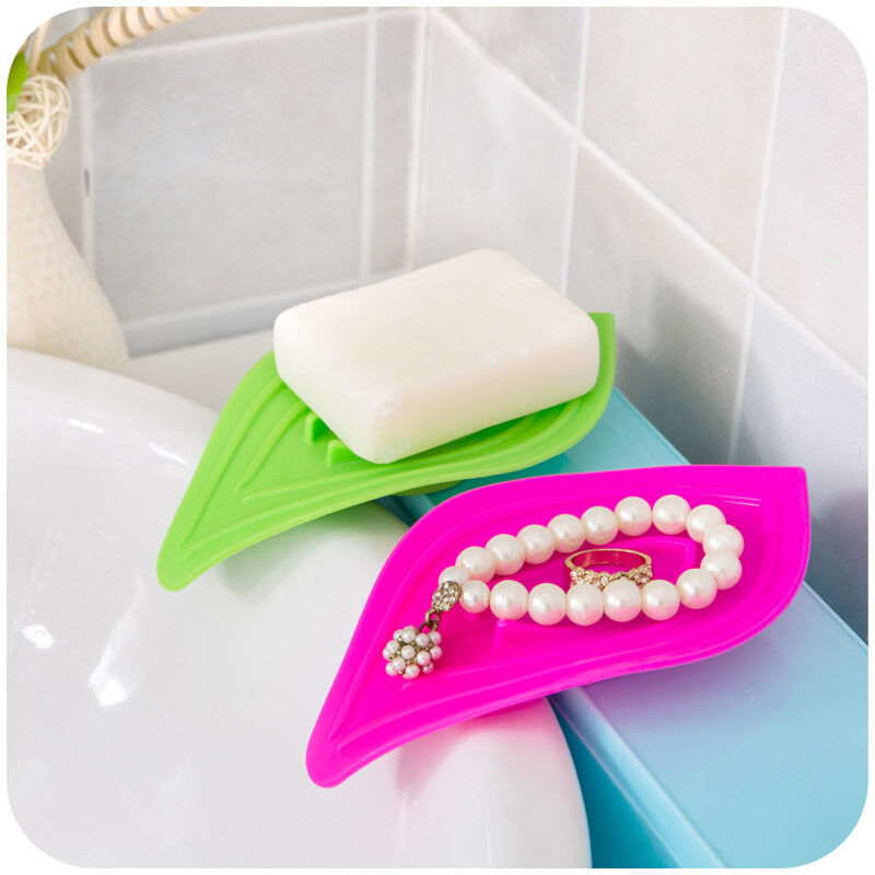 Slip Ring Leaves Soap Box Drain Clean Soap Dishes Kitchen