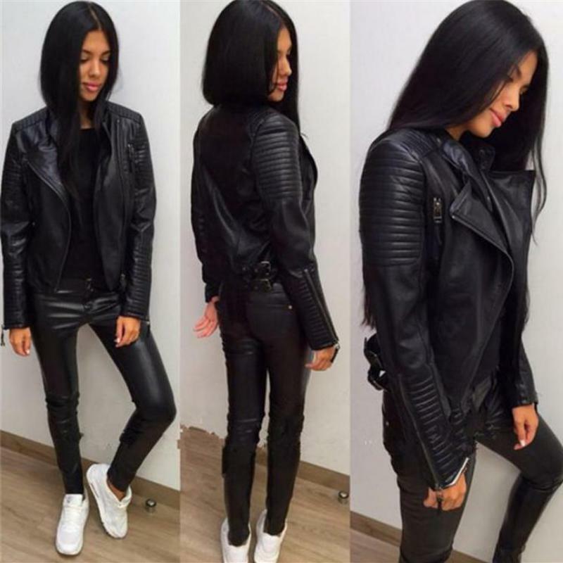 Women's Black Moto Lambskin Real Leather Jacket Motorcycle S