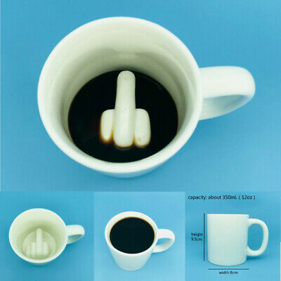 Cool Stuff Middle Finger Coffee Mug Big Surprise Spoof Coffee Tea Porcelain Cup ()