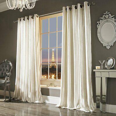 Kylie Iliana Oyster Velvet Eyelet Curtains 229 W x 229 cm Drop Beige Cream