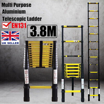 3.8M Black Heavy Duty Multi-Purpose Aluminium Telescopic Ladder Extendable EN131