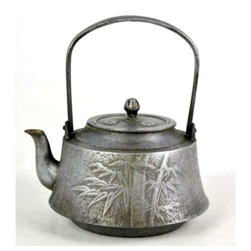 Antique Chinese Pewter Embossed Bamboo and Floral Teapot Kettle