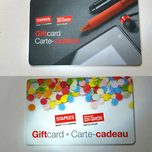 Two Staples Gift Cards ($15 and $40)