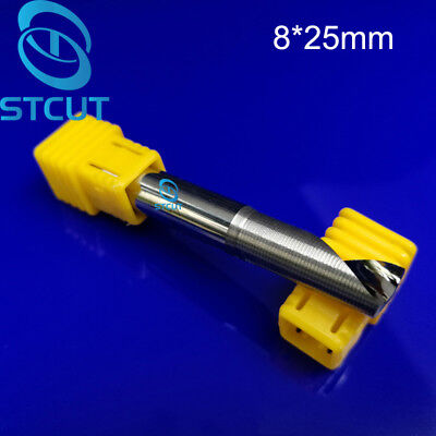 2pcs Aluminium Cutting One Single Flute Cnc Milling Cutter Router Bits 8mm 25mm