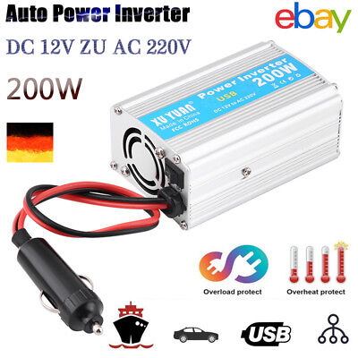 200W Auto Power Inverter Converter USB Ladegerät Adapter DC 12V AC 220V KFZ EHS Auto-power-inverter