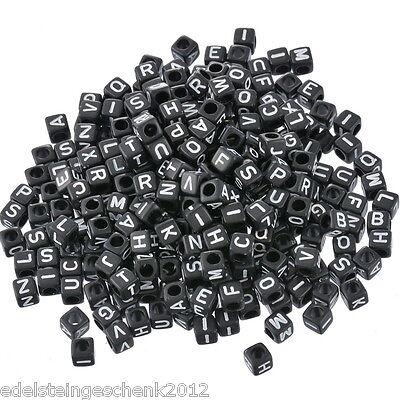 Alpha Alphabet Bead (Sonderangebot 500 Schwarz Alphabete Buchstaben Acryl Würfel Perlen Beads 6x6mm)