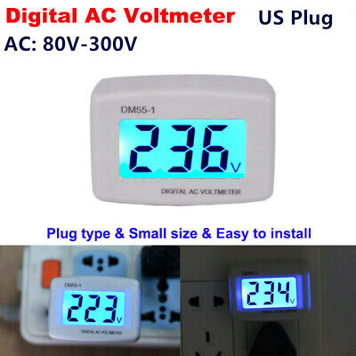 Ac 80v-300v Lcd Digital Voltmeter Plug-in Home Voltage Meter Monitor Us Plug