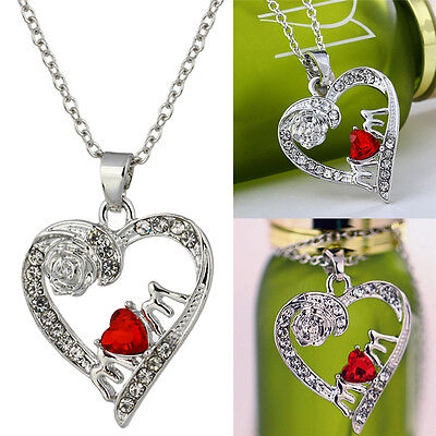 Charm Mother's Day Gift for Mom Friend Red Crystal Heart Necklace Pendant RS