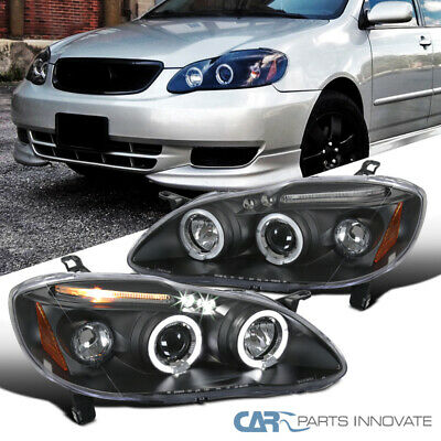 Fit Toyota 03-08 Corolla Black LED Halo Projector Headlights Driving Head Lamps ()