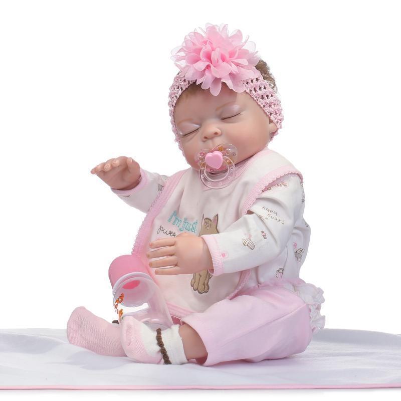 22'' Lifelike Newborn Dolls Full Body Silicone Handmade Reborn Baby Dolls Gift