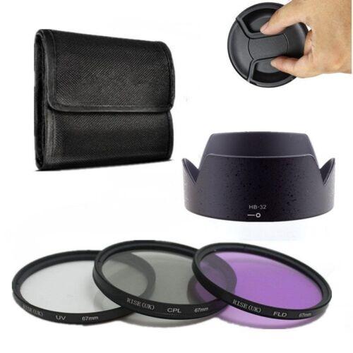 67mm UV CPL FLD Lens Filter Kit Lens Hood for Canon//Nikon 18-135mm Lens