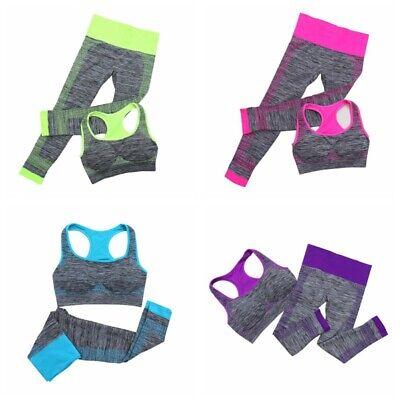 Damen Stretch Yoga Workout Kleidung Set Fitness Gym Laufen Sport-BH-Hosen Sport