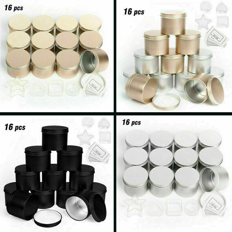 Empty Candle Tins 12 Pack with 4 Plastic Candle Making Cup for Candle Cosmestic
