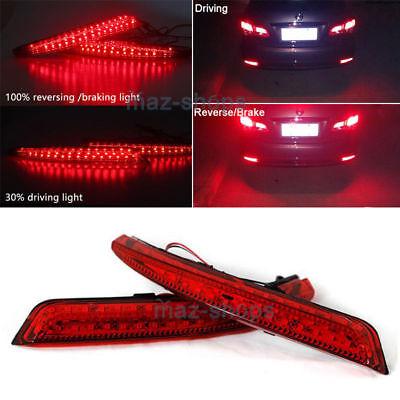 Red Lens LED Rear Bumper Fog Brake Light Lamp For Nissan Sylphy Wingroad Almera