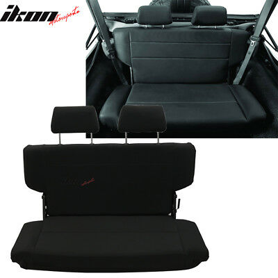Fits 97-06 Jeep Wrangler Rear Seat with 2 Headrests Black PU Faux Leather Black Microsuede Racing Seat