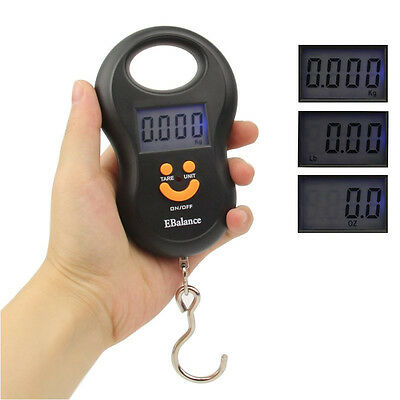 Digital Luggage Scale Hanging Hook LCD Checked Baggage Carry On 110 lb. Capacity