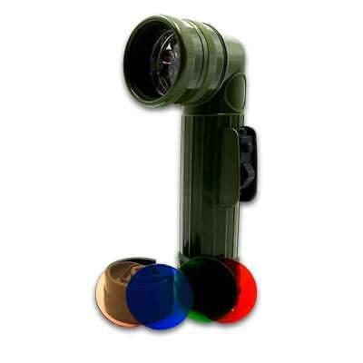 Army Style GI Anglehead LED Flashlight (D-Cell X2) colored filters  Angle Head Led Flashlight