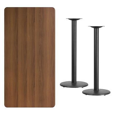 30 X 60 Rectangular Walnut Laminate Table Top With 18 Round Bar Ht Base