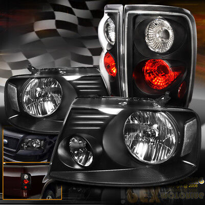 Combo Set For All 2004 2008 Ford F150 F 150 Black Headlights  Black Tail Lights