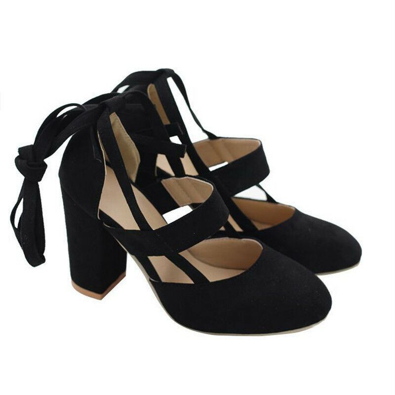 f6a9793194bd Womens Block High Heels Ankle Strap Sandals Lace Up Peep Toe Prom Shoes