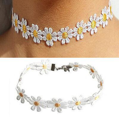 Frauen Daisy (Frauen Daisy Choker Kette Halskette Spitze Gelb weiße Blumen Boho Halskette UE)