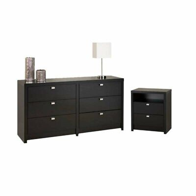 2 Piece Set with Dresser and Nightstand Black
