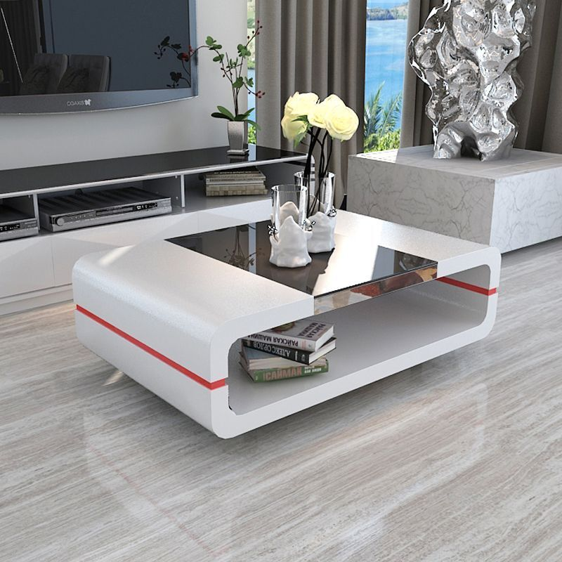 Design Modern High Gloss White Coffee Table With Black Glass Top Living Room Picclick Uk