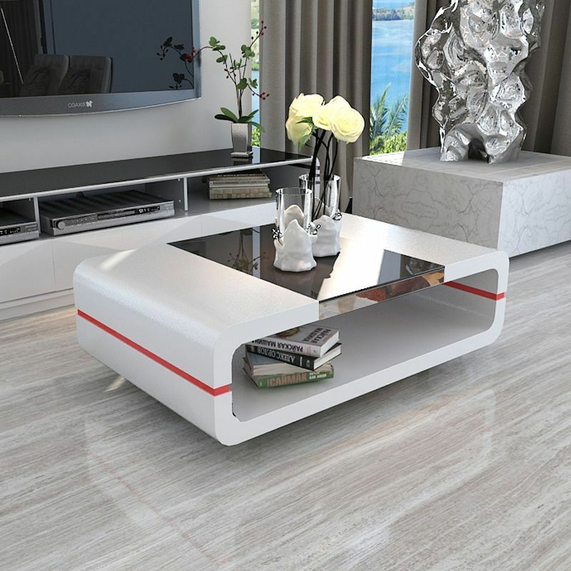 New Modern High Gloss White Rectangle Coffee Table Living: Modern High Gloss White Coffee Table With Black Tempered
