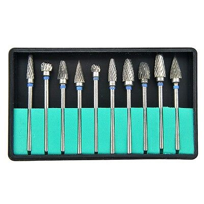 Set 10 Tungsten Steel Dental Burs Lab Burrs Tooth Drillusa
