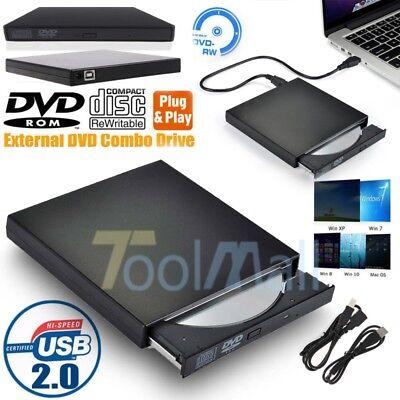 Slim External DVD Drive RW USB 2.0 CD Writer Drive Burner Player PC Laptop US, usado comprar usado  Enviando para Brazil
