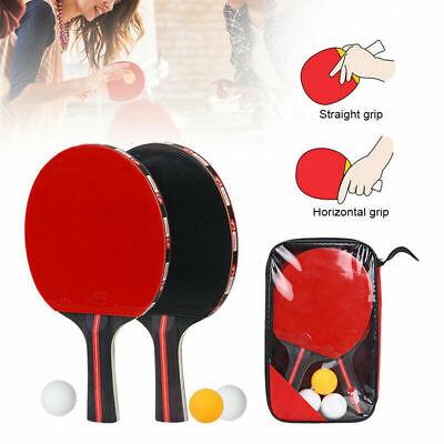 2PCS Table Tennis Ping Pong Racket Paddle Bat + 3 Balls Bag Sets Balls Kit Set for sale  Shipping to Canada