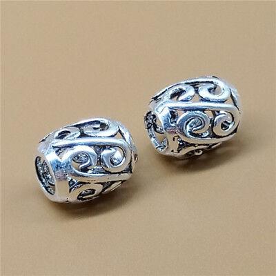 (2 Sterling Silver Large Hole Spiral Barrel Beads 925 Silver Bracelet Spacers)