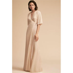 Anthropologie (BHLDN Collecti) Cream Sequined Long Evening Dress