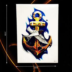 Waterproof Large Anchor Temporary Tattoo for For Men or Women
