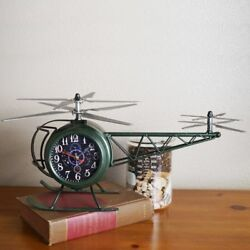 Helicopter Double-Sided Tabletop Clock (Green)