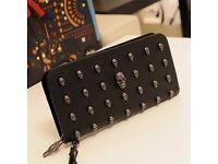 Metal Skull Leather Wristlet purse