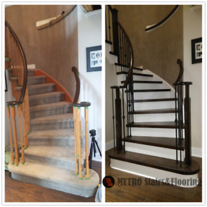 Hardwood Stairs and Railing,Wrought Iron Spindles (FREE ESTIMATE