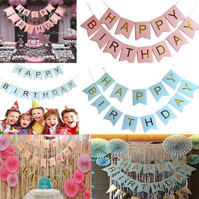 Glitter Gold Letters Happy Birthday Bunting Garland Party Hanging Banner Decor - Gold Garland