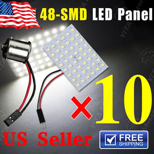 10-X-White-48-SMD-Panel-Dome-Map-Interior-Light-Lamp-BA15S-1156-Adapter-DC-12V
