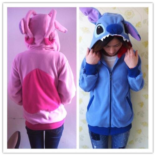 2021 New Kigurumi Lilo & Stitch blue Angel hoodie cosplay coat jacket