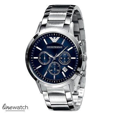 Emporio Armani AR2448 Renato Herren Chronograph Uhr Silberfarben Blau NEU OVP