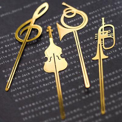 (4pcs/lot Creative Metal Musical Instruments Bookmark Book Folder School Supply)