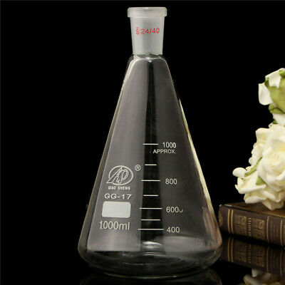 1000ml 24 40 Glass Erlenmeyer Flask Pro Conical Bottle Lab Chemistry Glassware