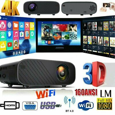 18000 Lumens 4K 1080P HD WiFi Mini 3D LED Home Theater Projector...