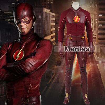 Comic Con Outfits (Barry Allen Cosplay Costume Superhero Halloween Outfits Comic Con Suits Props)